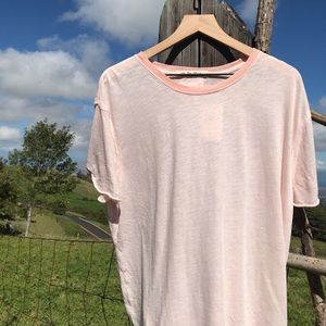 Free People Clarity Ringer Tee Shirt  Pink NWT S